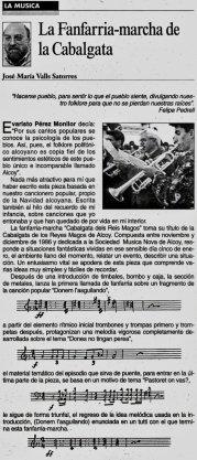 """José Mª Valls """"La fanfarria-marcha de la cabalgata"""" para El Periódico Ciudad de Alcoy (Extra Reyes año 2000) reproducido en la web por cortesía del autor"""