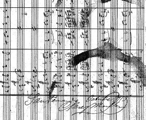 """Firma de Camilo Pérez Monllor en la partitura de """"L'entrà dels Reis"""". Foto: cortesía de la Corporación Musical Primitiva de Alcoy (Alicante)"""