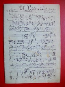 """""""El Recuerdo"""" Melodia para piano. Música: J.Espi Lletra: T.Llorente. Copia manuscrita a l'arxiu de la Corporació Musical Primitiva d'Alcoi"""
