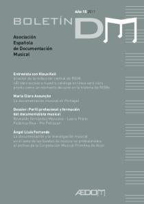 Boletin DM Año 15-2011 - Asociación Española de Documentación Musical