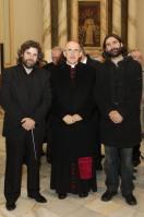 2012-12-16, Beneixama. Àngel Lluís Ferrando i Àlex Pérez amb monssenyor Carlos Osoro en la Clausura del bicentenari del Cardenal Payà