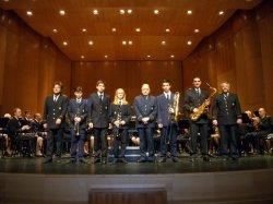 2013-03-24 Nous músics de La Primitiva: Andrea Blasco Jordá (clarinet), Josep Mullor Valor (saxofò tenor), Jordi Olcina Moltó (trompeta) i José Pérez Lorente (trombó)