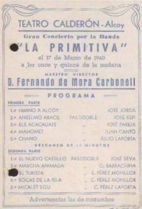 Programa de mano Diumenge de Rams 1940
