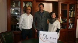 Rafael Briet, alcalde de Cocentaina; Ignacio García Vidal y Marcela Richart, edil de Cultura