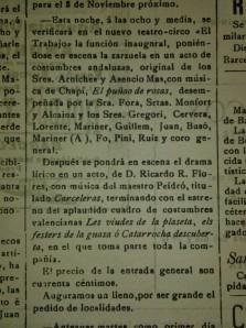 """Així publicava la noticia de l'inauguració del teatre el """"Heraldo de Alcoy"""" el día 22 d'octubre de 1903"""