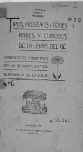 """Portada del llibre """"Tipos, modismes i coses curioses de la terra del ge"""" (1906) de Martí Gadea"""