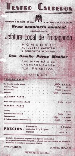 Programa de mà del concert del 05/05/1940