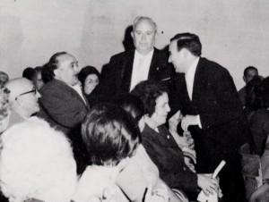 """Joan Valls, Gregorio Casasempere i Amando Blanquer a l'estrena de """"Tres cançons sentimentals"""" al 1975"""