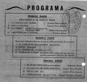 Programa de mano del concierto del 11 de abril de 1959 que fue una exaltación a la Marcha Mora con una segunda parte dedicada a Chapí