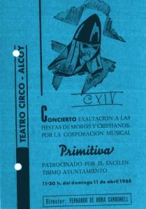 Programa de mà del concert de Diumenge de Rams de 1965