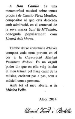 Dedicatòria de Terol Botella a la banda i a Camilo Pérez Monllor