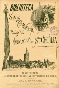 Portada del tomo I (1890-1891) de la publicación Biblioteca Sacro-Musical. En ella publicó Rigoberto Cortina algunas de sus composiciones religiosas más célebres.