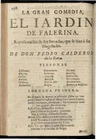Llibret de El jardín de Falerina de Calderón de la Barca