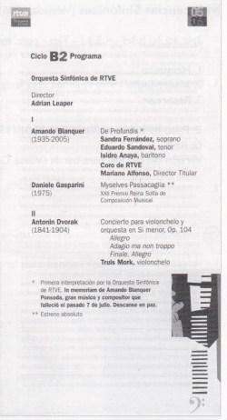 Programa en el que la Orquesta y Coros de RTVE homenajeó a Blanquer en noviembre de 2005
