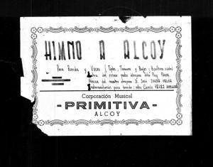 """Portada del """"Himno a Alcoy"""" (Archivo: C.M.Primitiva)"""