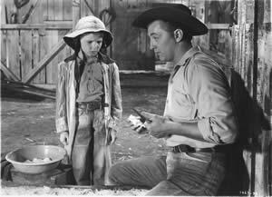 """Robert Mitchum en """"The red pony"""" (1948) de Milestone, amb música de Copland"""