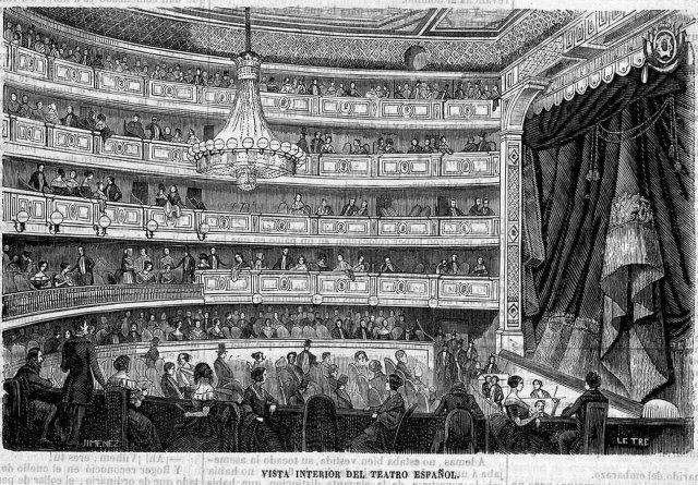 """Teatre Espanyol de Madrid, fins 1849 anomenat """"del Príncipe"""" en un gravat publicat en La Ilustración, 5--5-1849. Font Biblioteca Virtual de Prensa Histórica. Ministeri de Cultura."""