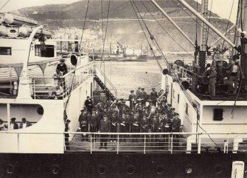 La Unió Musical Contestana, a bord del 'Sidi Bel Abbés' en el seu viatge a Orà al 1936
