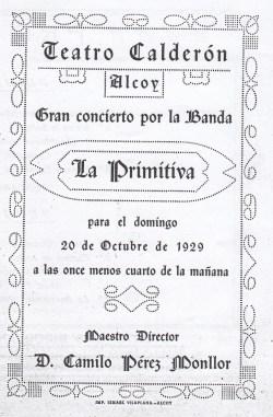 Portada de uno de los conciertos que dirigió el maestro Pérez Monllor